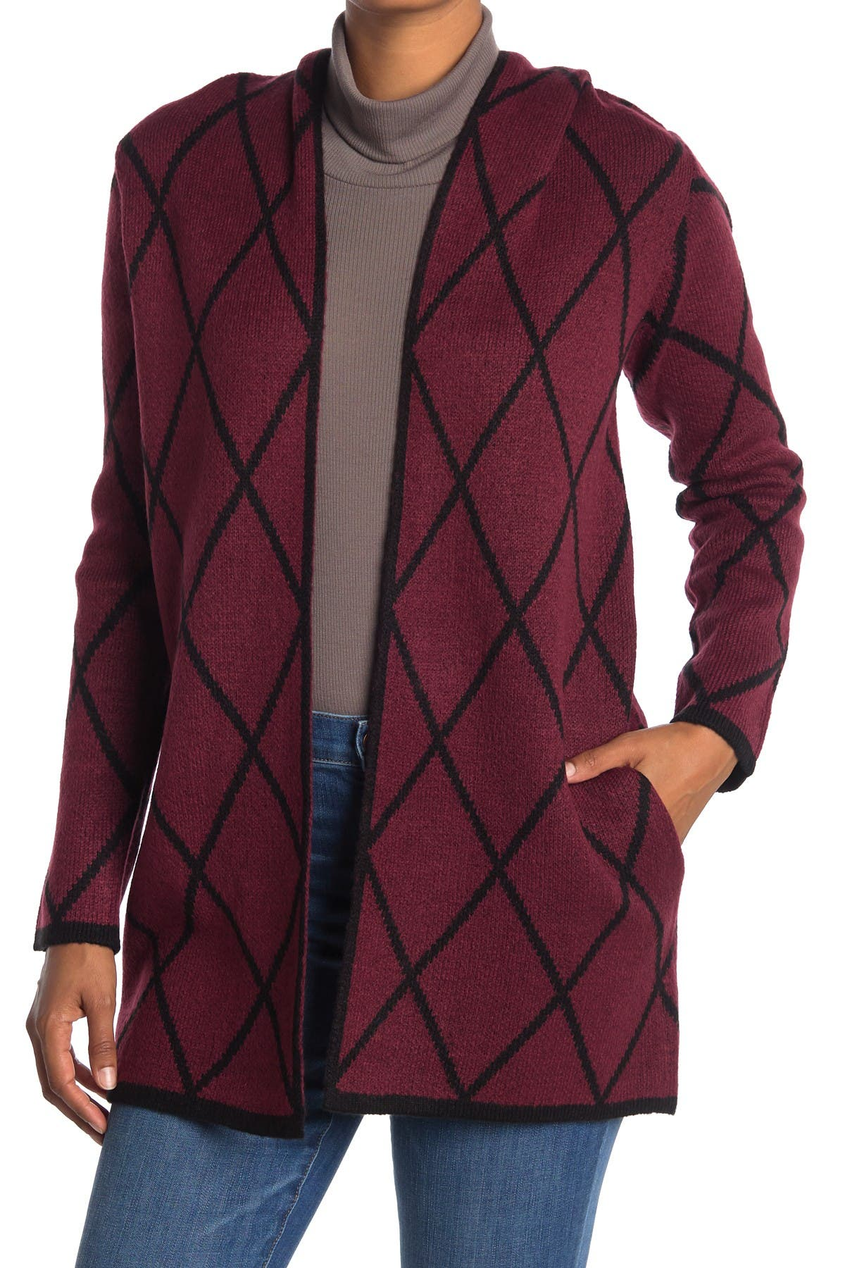 Image of By Design Apollo Hooded Pattern Cardigan
