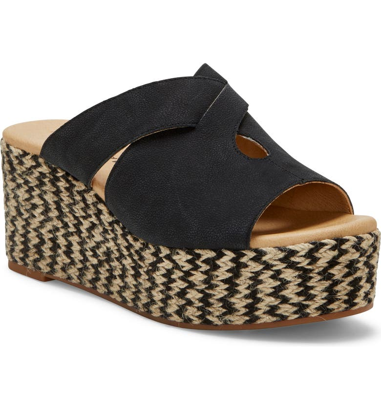 LUCKY BRAND Genzy Platform Espadrille, Main, color, BLACK LEATHER