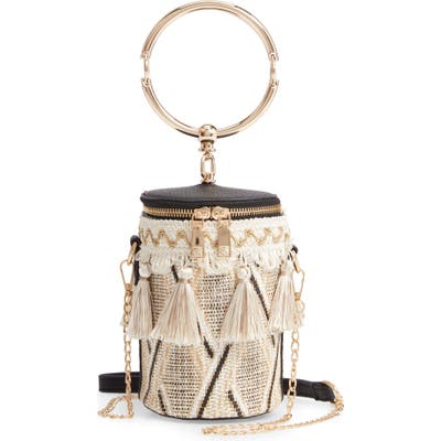 Knotty Woven Tassel Top Handle Bag - Brown