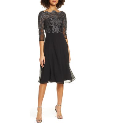 Chi Chi London Myara Glitter Embroidered Lace Cocktail Dress, Black