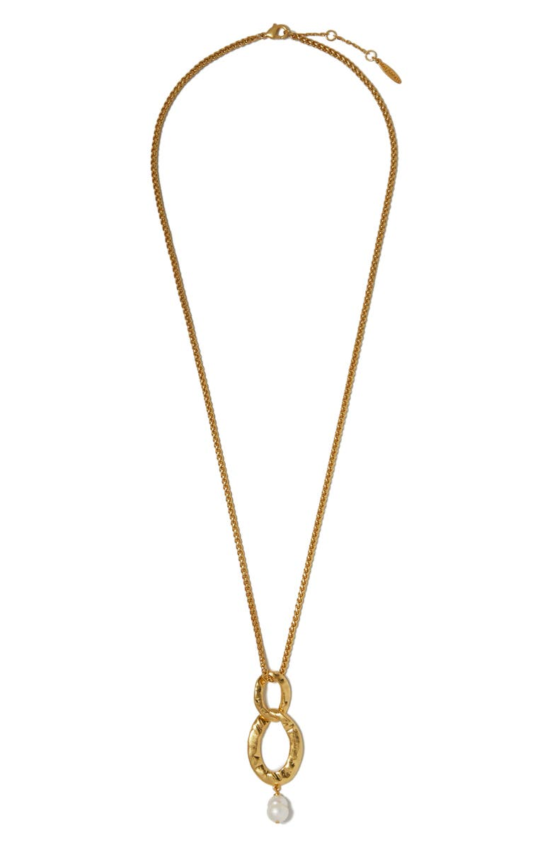 SOLE SOCIETY Freshwater Pearl Pendant Necklace, Main, color, GOLD/ LIGHT GREY