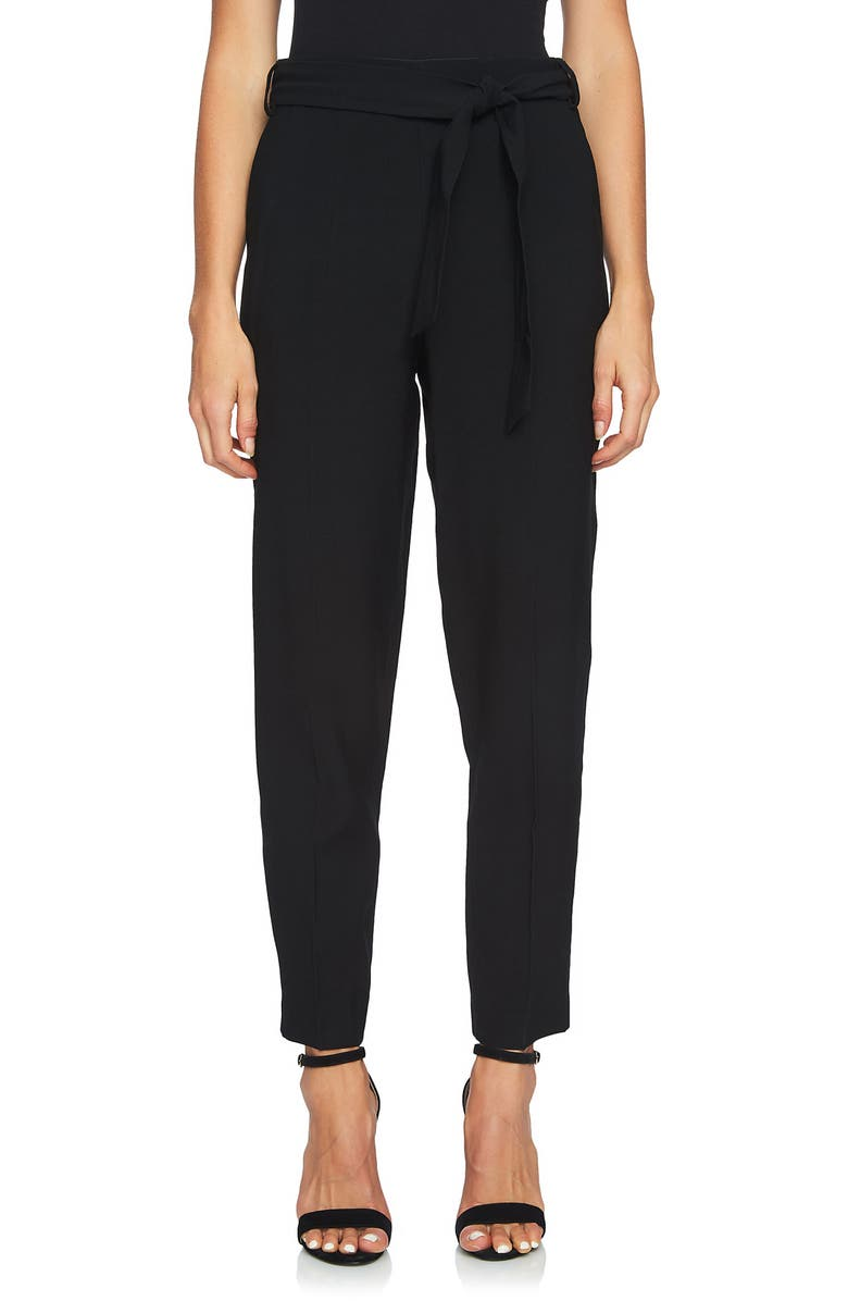 1.STATE Tie Waist Tapered Trousers, Main, color, RICH BLACK