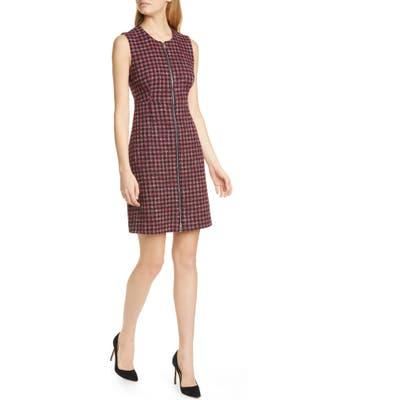 Boss Darsha Tweed Sheath Dress, Burgundy