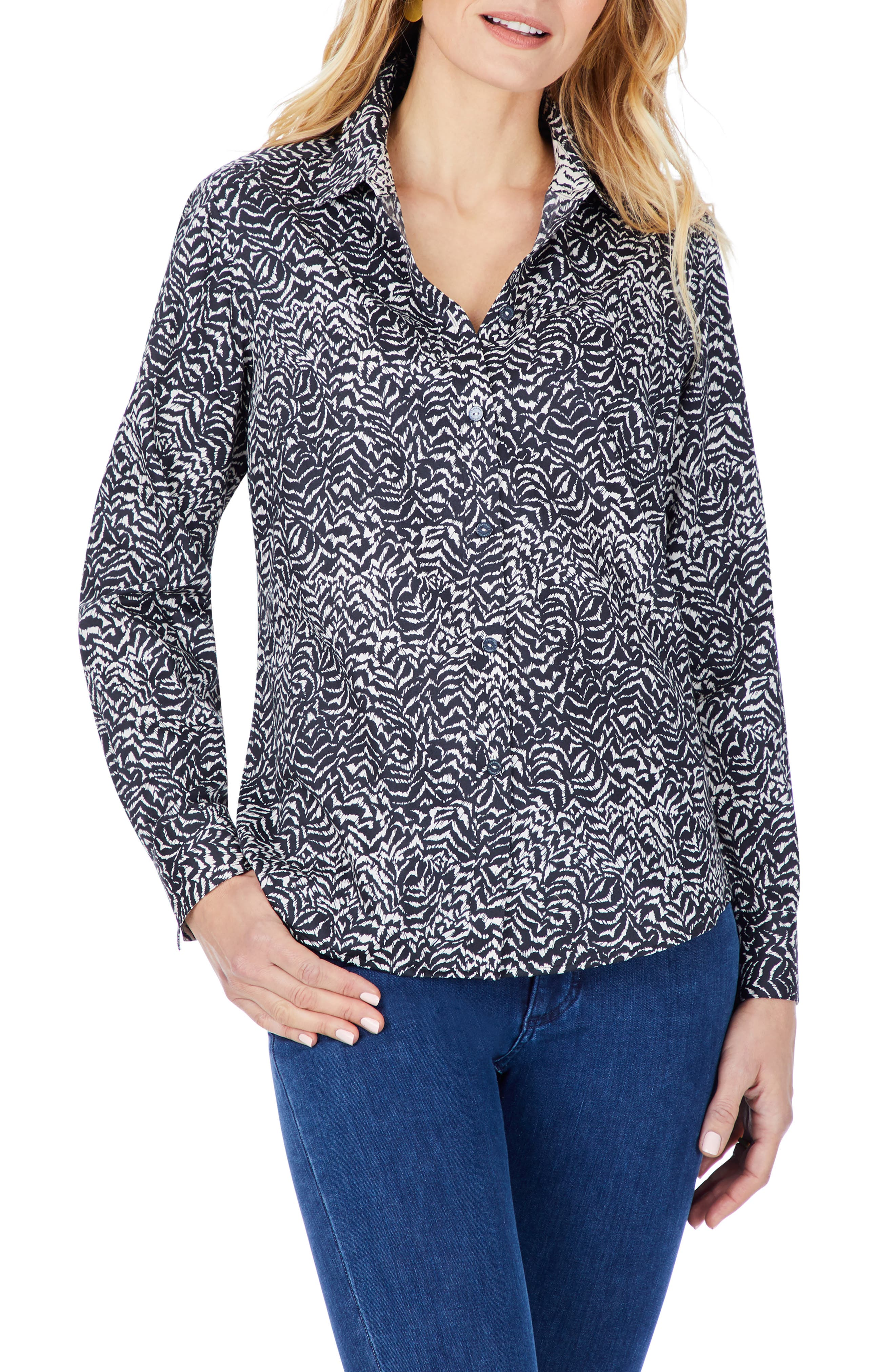 Ava Zebra Print Non-Iron Cotton Button-Up Shirt
