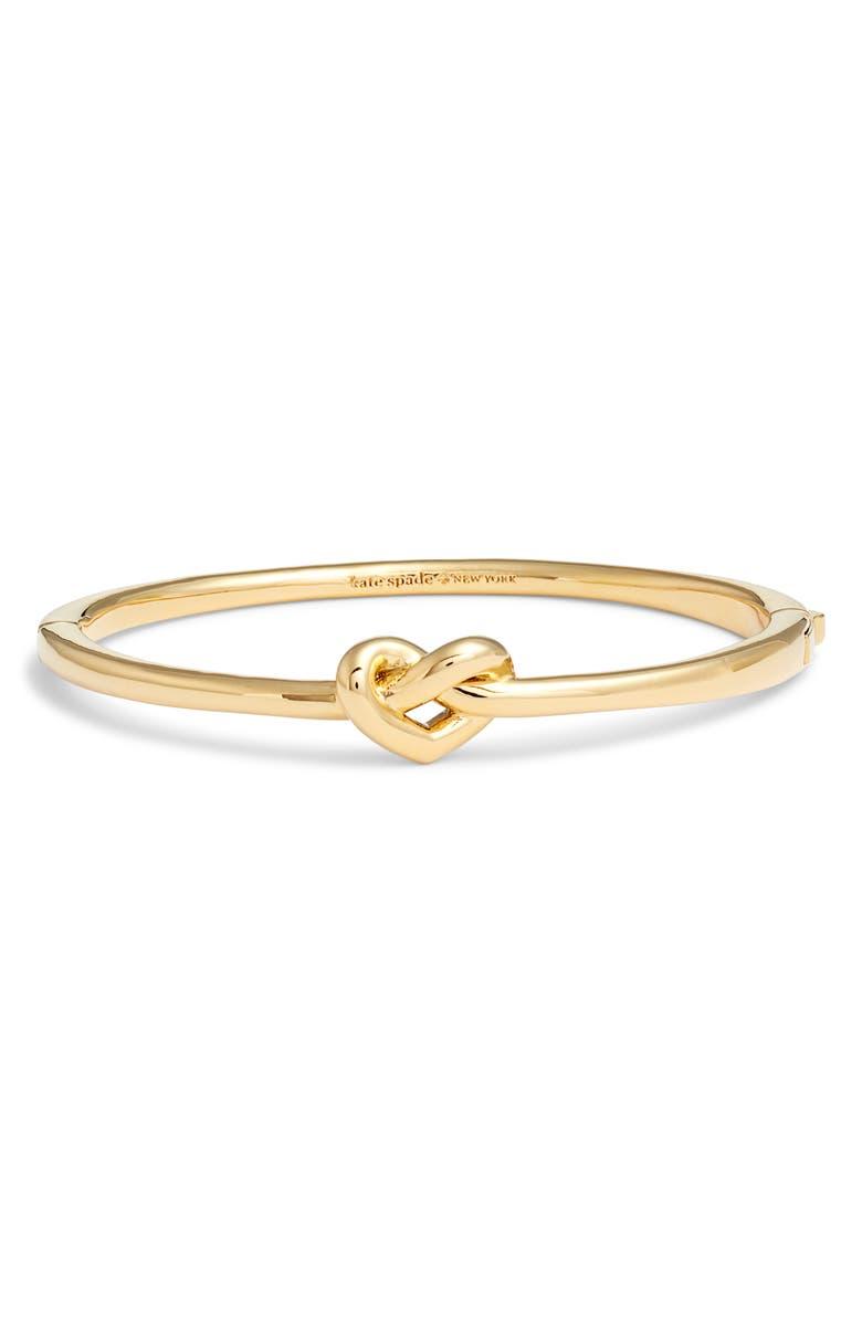 KATE SPADE NEW YORK loves me knot bangle, Main, color, GOLD