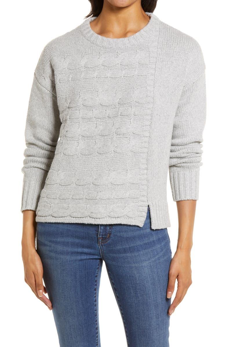 CASLON<SUP>®</SUP> Cable Mix Crewneck Sweater, Main, color, GREY HEATHER