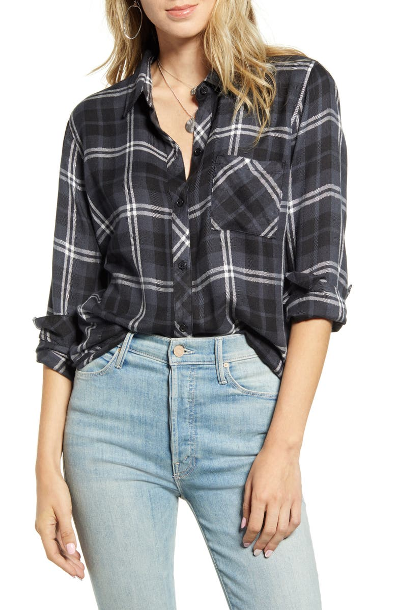 RAILS Hunter Plaid Shirt, Main, color, ONYX SLATE WHITE