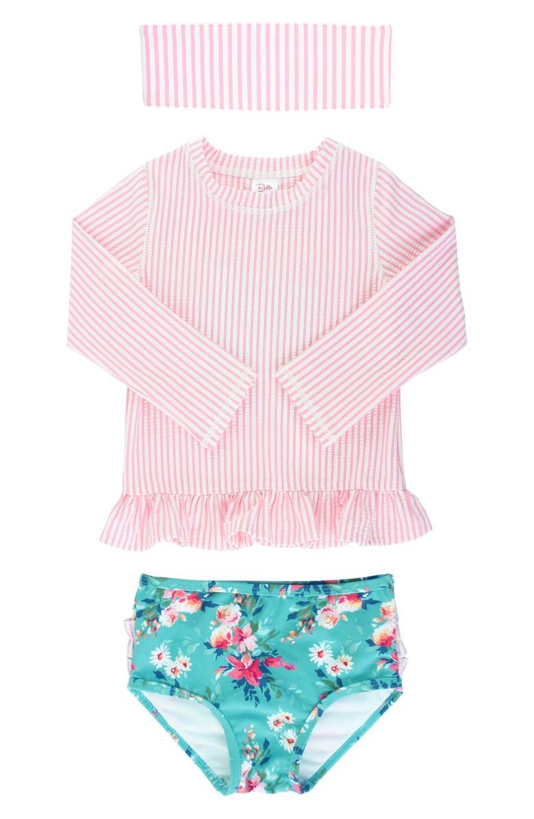 RUFFLEBUTTS Stripe & Floral Rashguard, Bottoms & Headband Set, Main, color, PINK