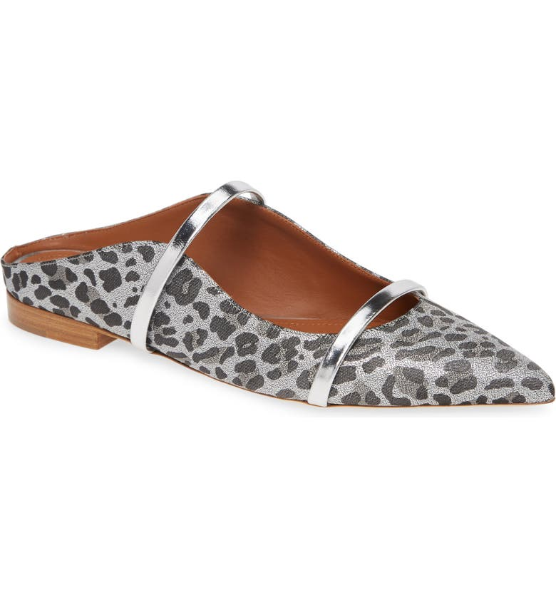 MALONE SOULIERS Maureen Pointy Toe Flat, Main, color, SILVER