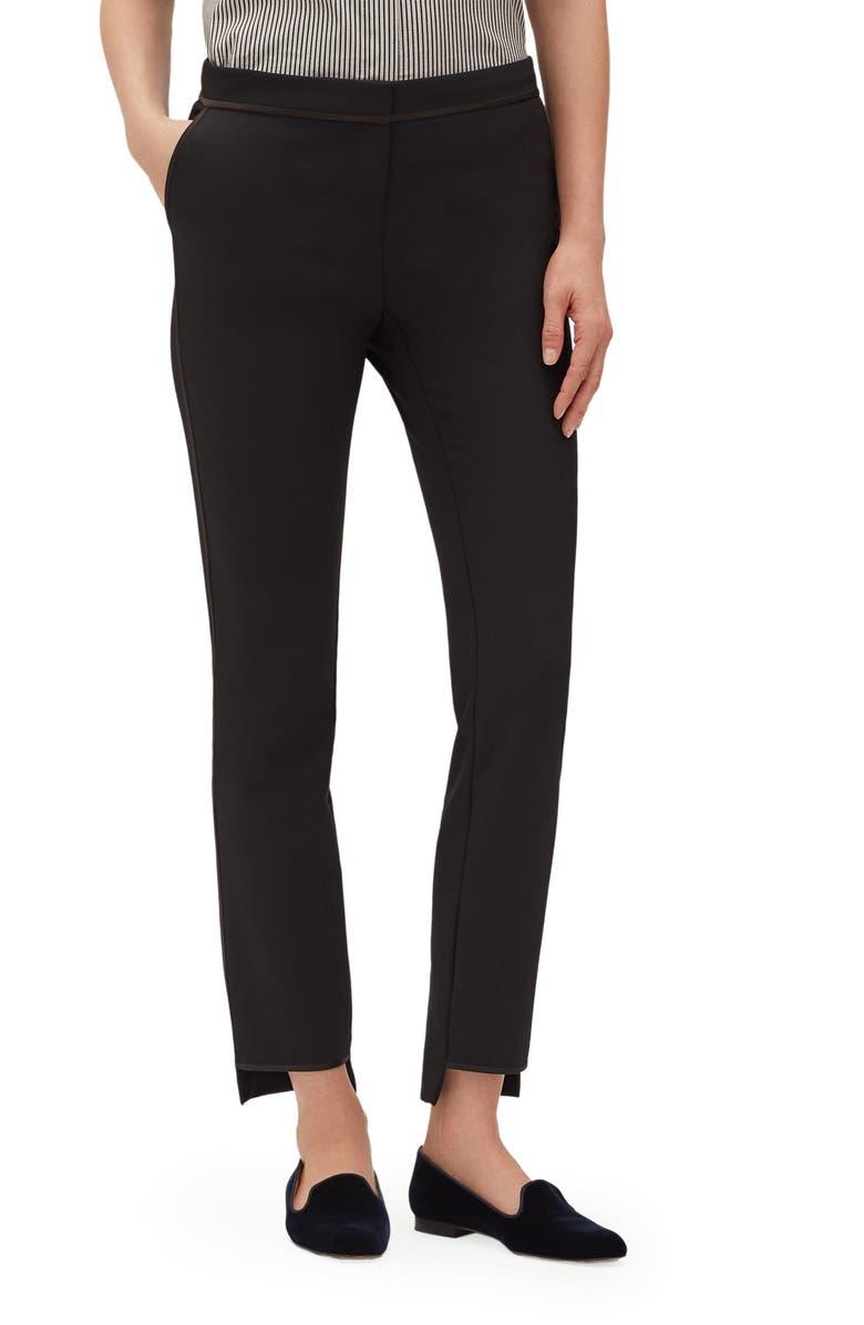 LAFAYETTE 148 NEW YORK Manhattan Acclaimed Stretch Step Hem Slim Pants, Main, color, BLACK