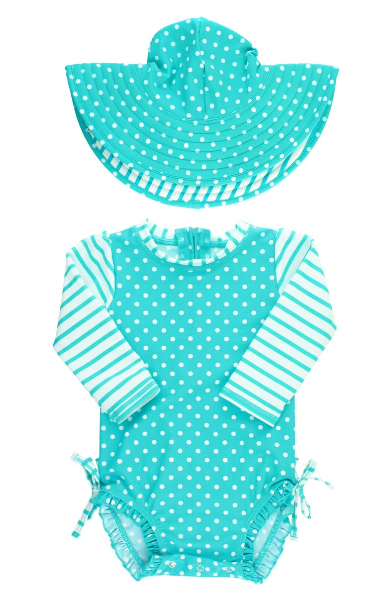 RUFFLEBUTTS One-Piece Rashguard Swimsuit & Hat Set, Main, color, AQUA