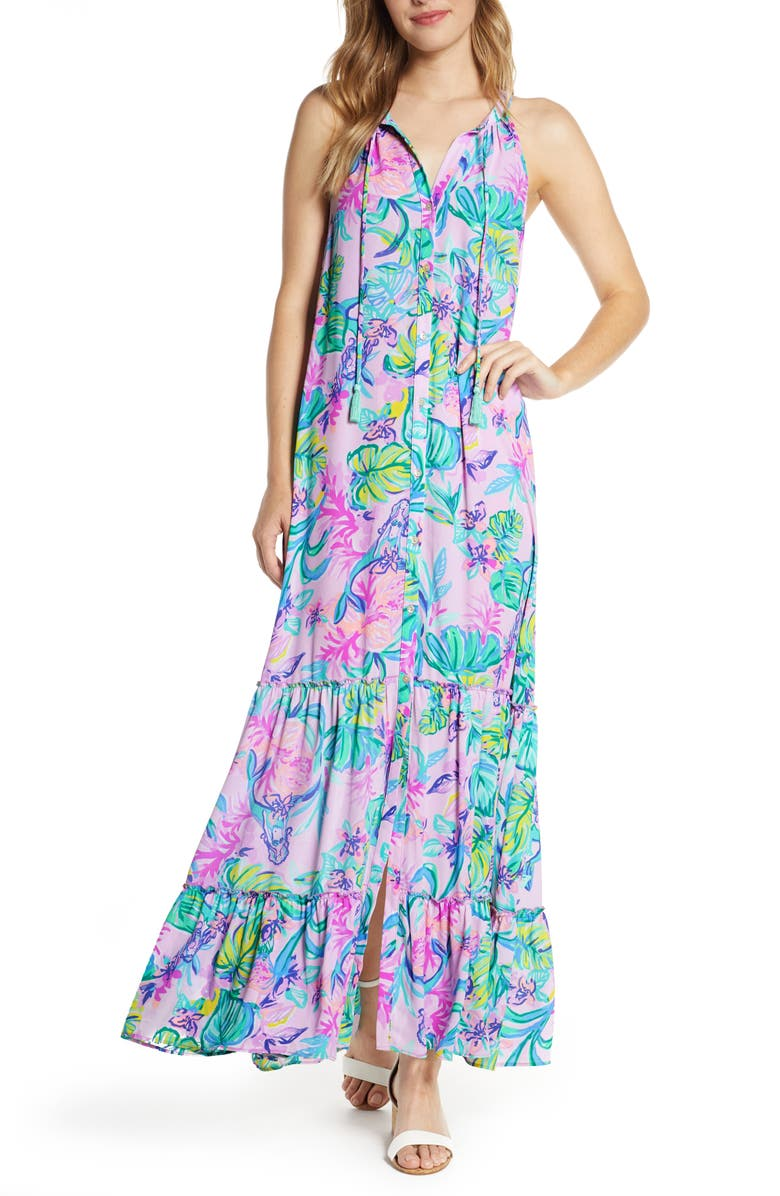 LILLY PULITZER<SUP>®</SUP> Luliana Button Front Maxi Dress, Main, color, AMETHYST TINT MERMAID