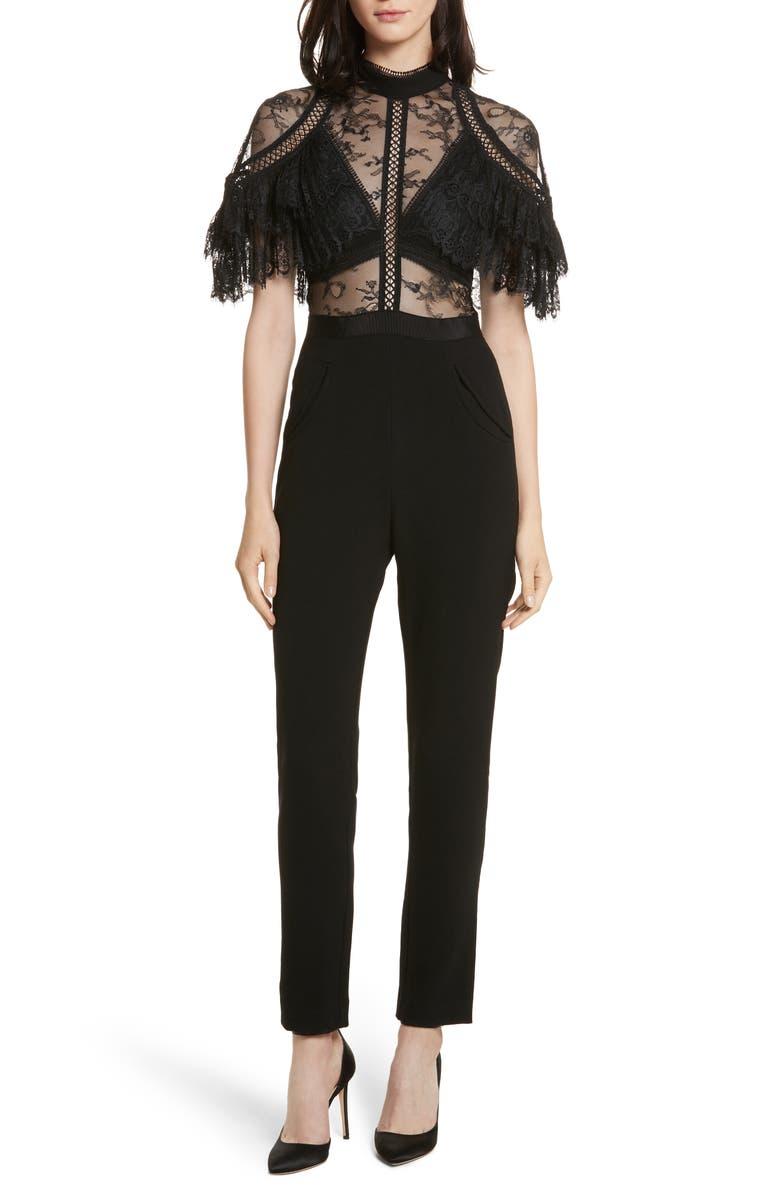 SELF-PORTRAIT Pleated Lace Bodice Jumpsuit, Main, color, 001