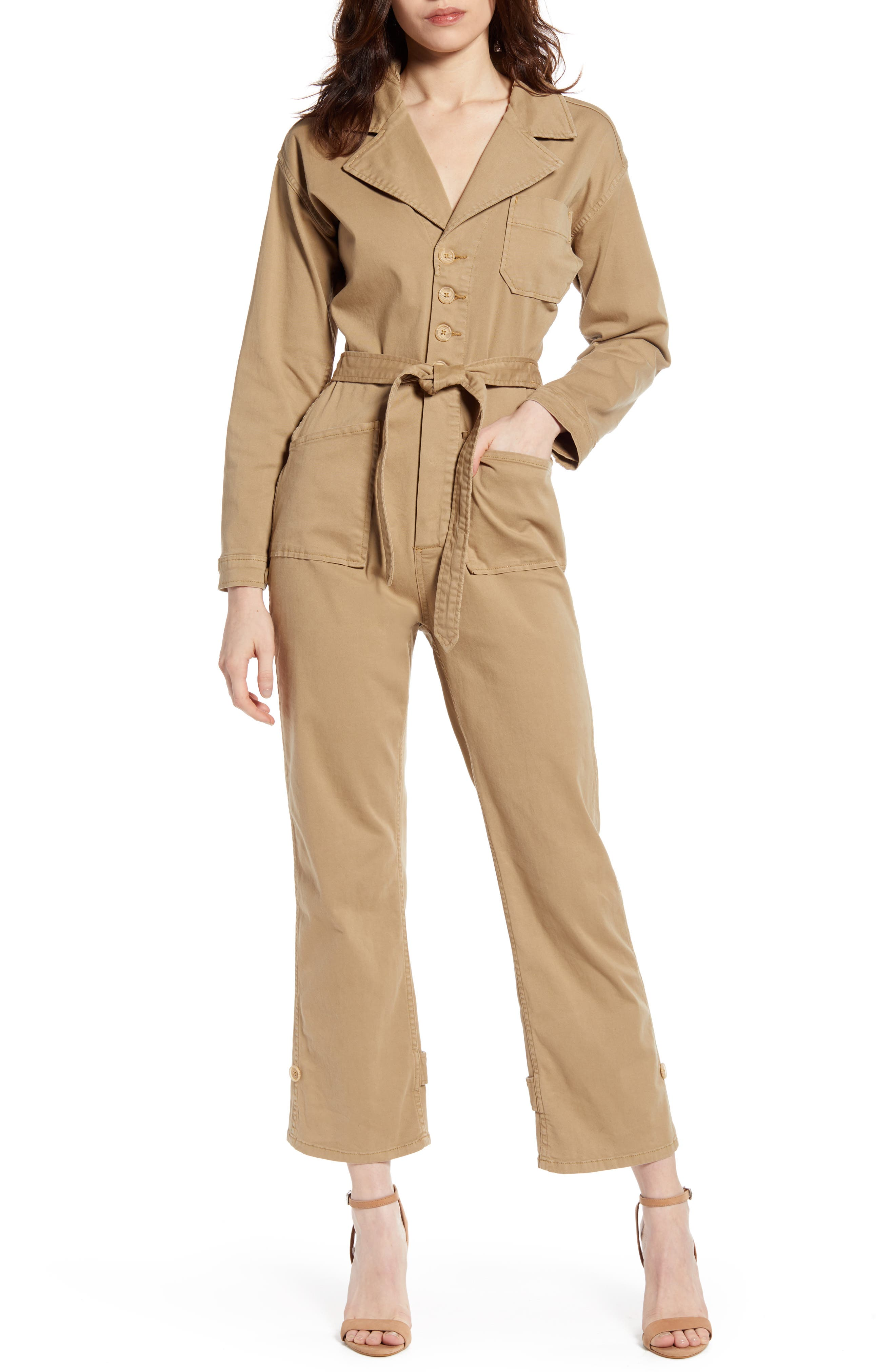 Image of Good American Khaki Jumpsuit With Pockets