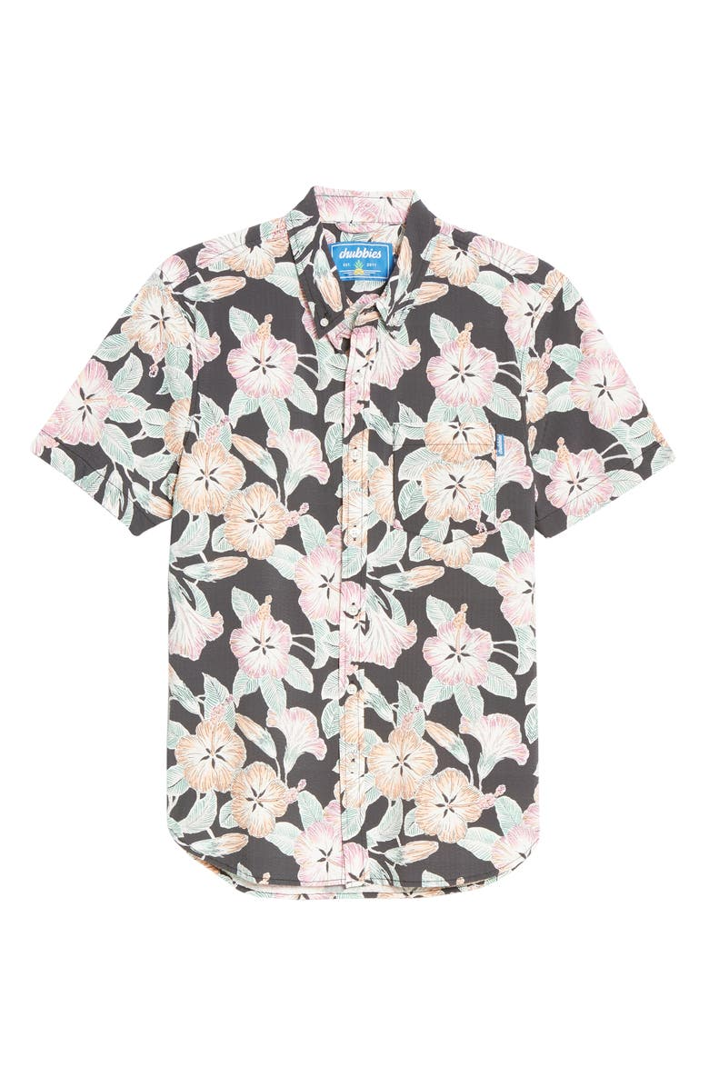 CHUBBIES The Tropical Destination Floral Short Sleeve Seersucker Button-Down Shirt, Main, color, BLACK