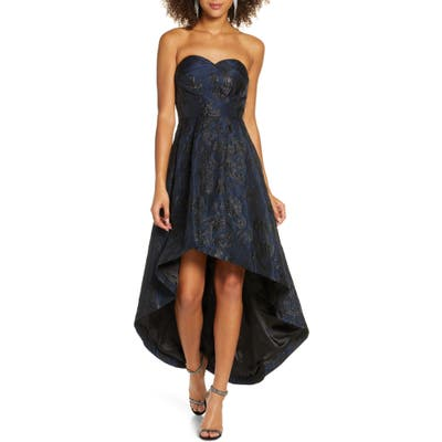 Chi Chi London Gracey Lee Metallic Filigree Strapless High/low Gown, Blue