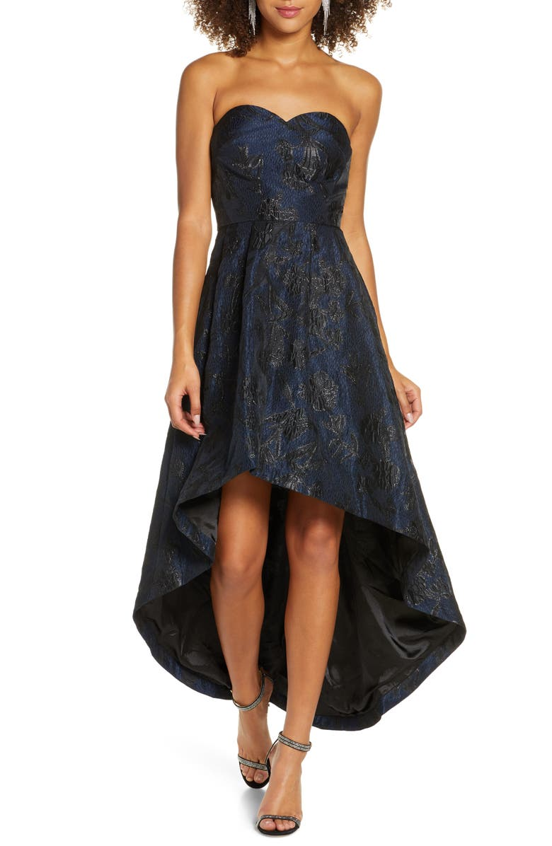 CHI CHI LONDON Gracey Lee Metallic Filigree Strapless High/Low Gown, Main, color, NAVY