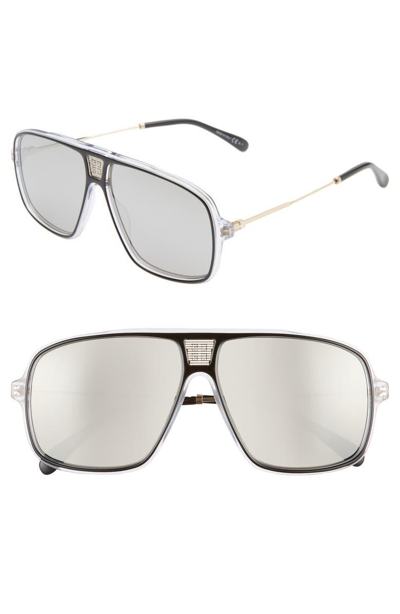 GIVENCHY 61mm Aviator Sunglasses, Main, color, 001