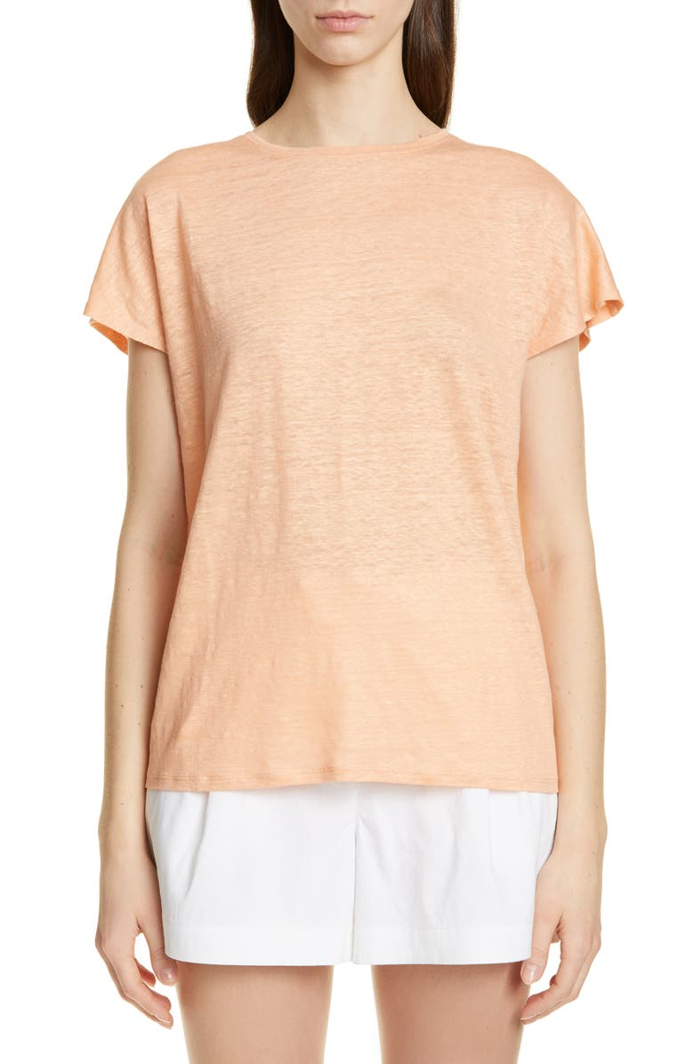 NORDSTROM SIGNATURE Linen Tee, Main, color, CORAL BISCUIT