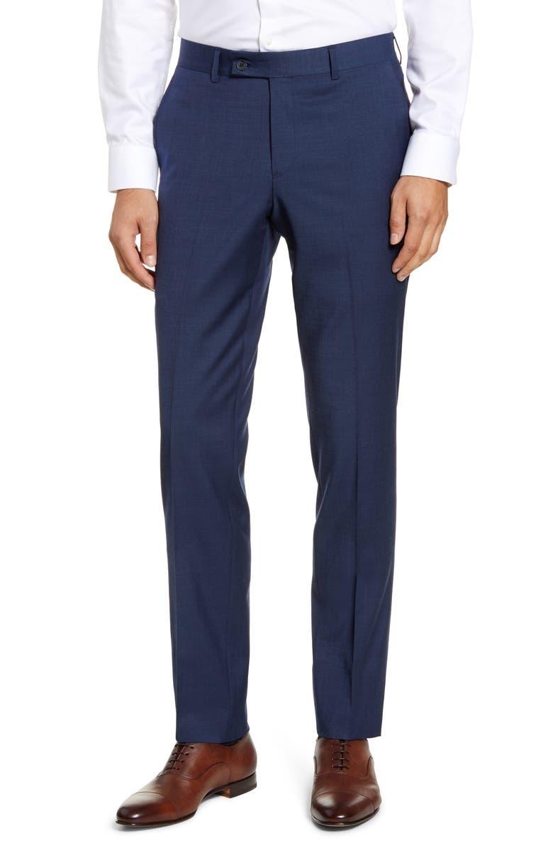 NORDSTROM MEN'S SHOP Trim Fit Wool Blend Trousers, Main, color, BLUE OASIS