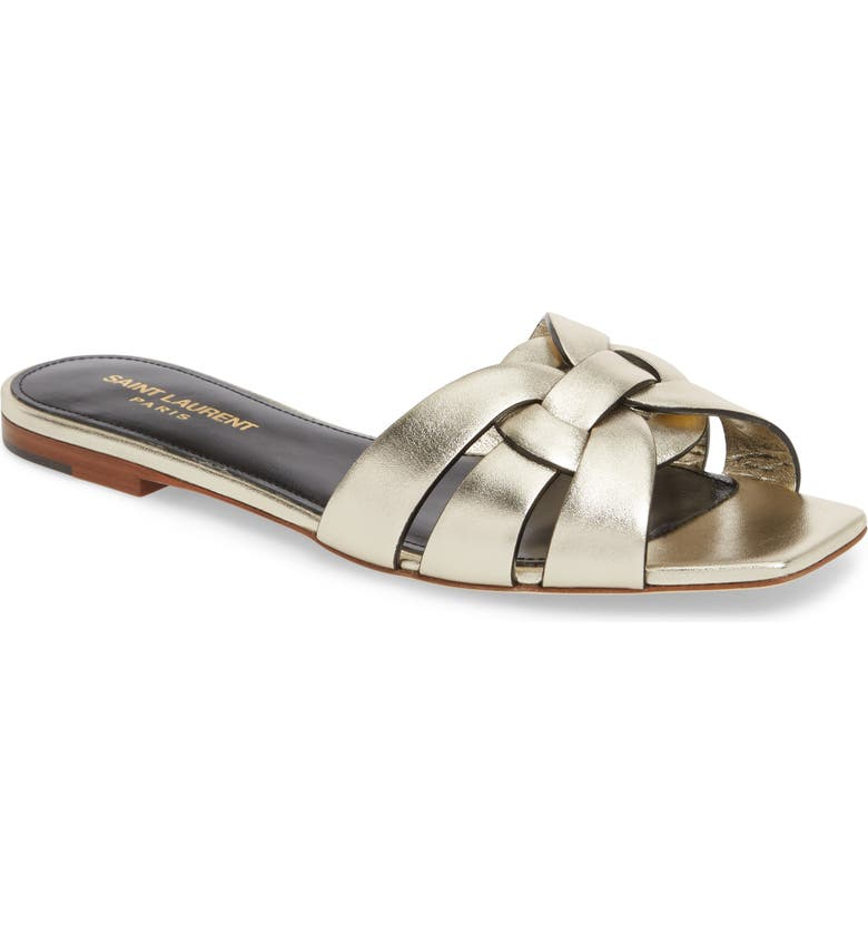 SAINT LAURENT Tribute Nu Pieds Slide Sandal, Main, color, PLATINO
