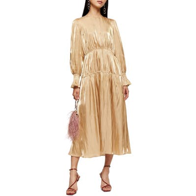 Topshop Smocked Long Sleeve Midi Dress, US (fits like 0) - Metallic