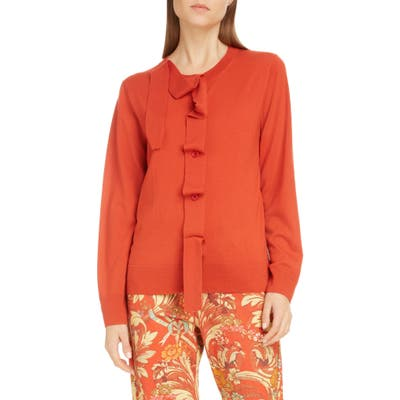 Dries Van Noten Janae Merino Wool Cardigan, Red