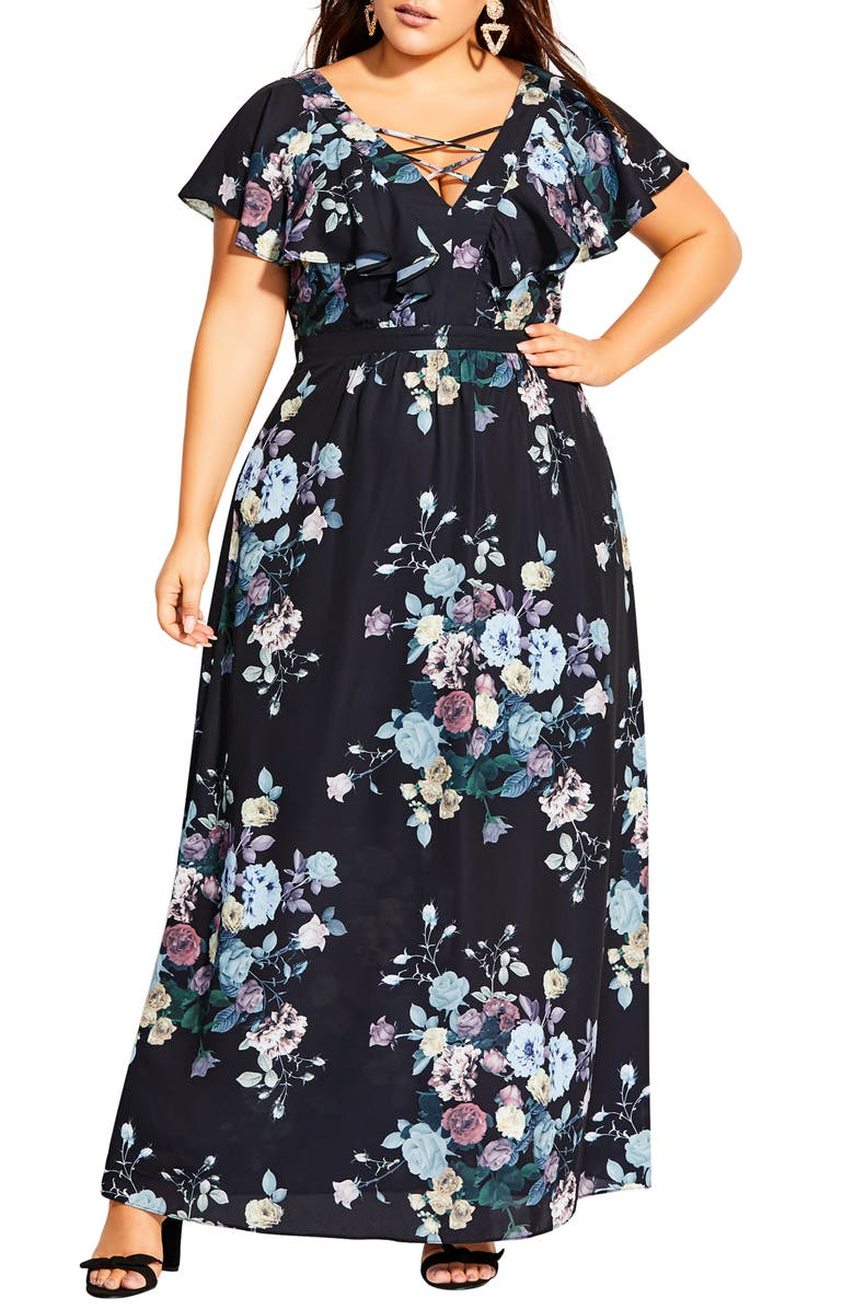 CITY CHIC Flutter Sleeve Floral Print Maxi Dress, Main, color, DARK BLOOMS