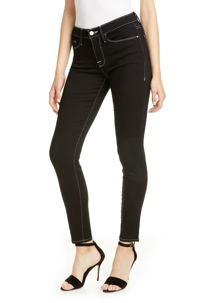 FRAME Le Skinny de Jeanne Contrast Stitch Ankle Jeans, Main, color, NOIR