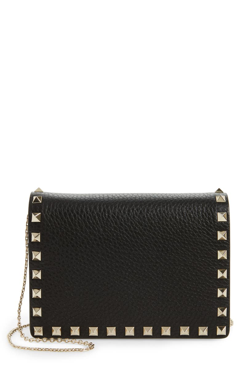 VALENTINO GARAVANI Rockstud Leather Pouch Wallet on a Chain, Main, color, NERO ROCKSTUD