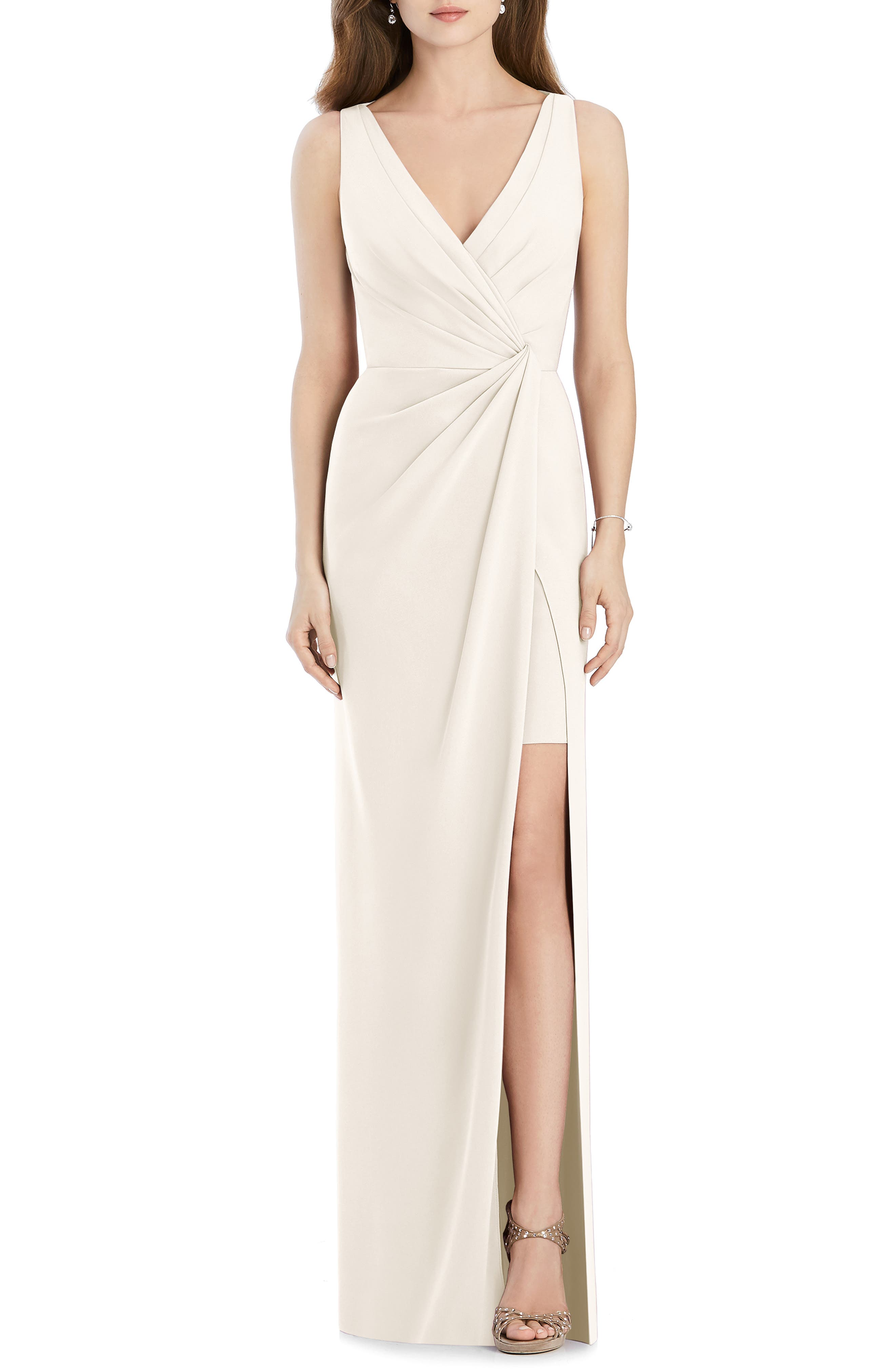 Jenny Packham Crepe Column Gown, Ivory