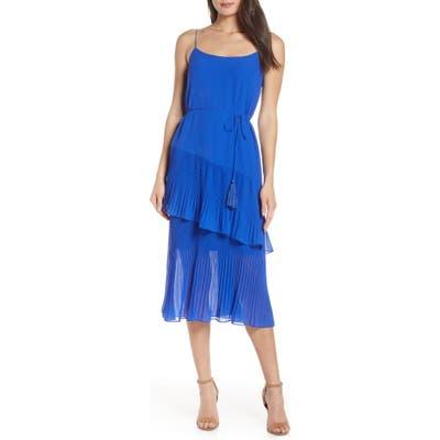 Chelsea28 Ruffle Tie Waist Midi Dress, Blue