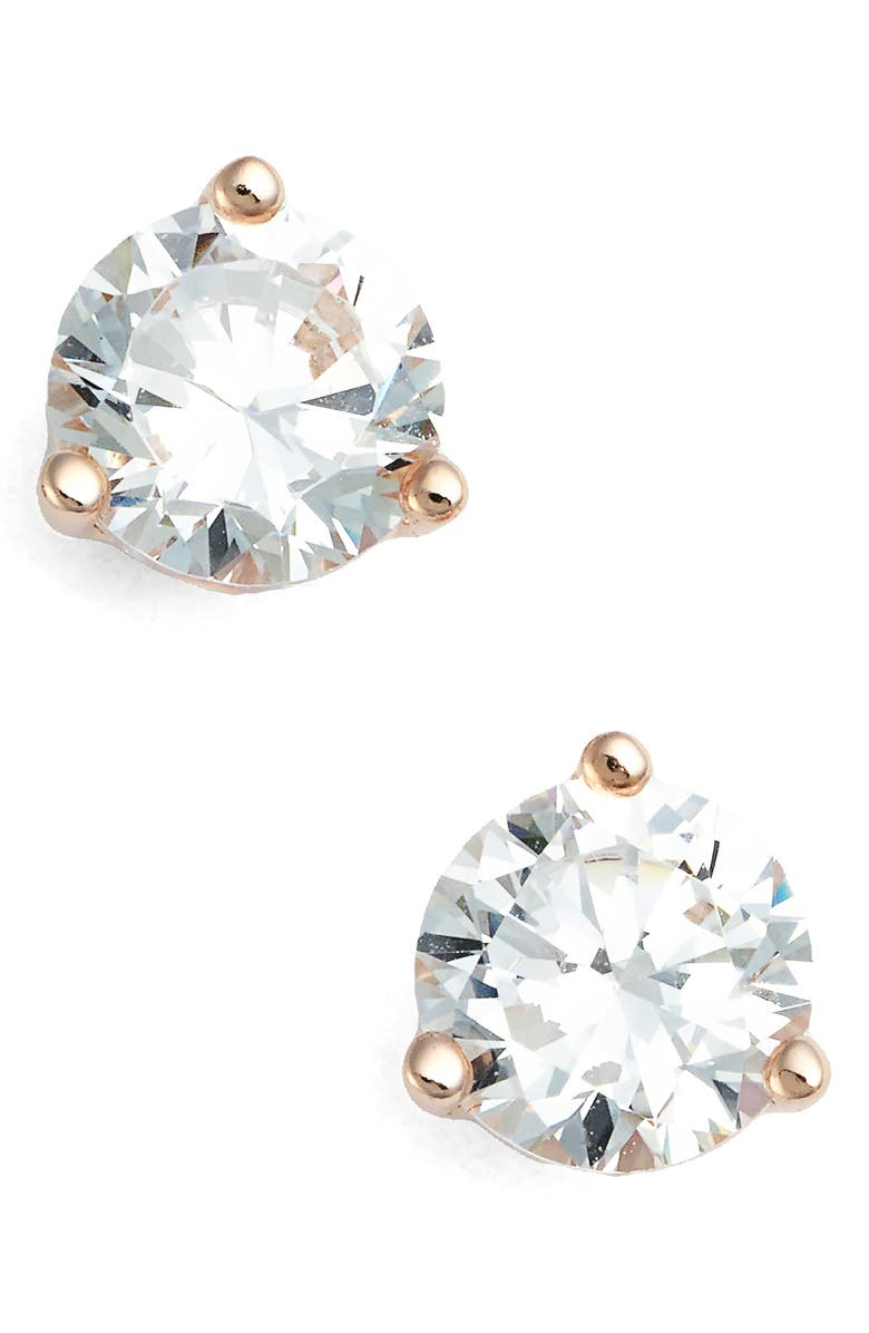 NORDSTROM 1ct tw Cubic Zirconia Earrings, Main, color, ROSE GOLD
