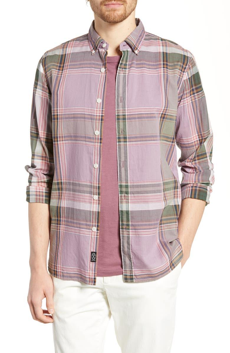 TODD SNYDER Madras Plaid Cotton Sport Shirt, Main, color, 500