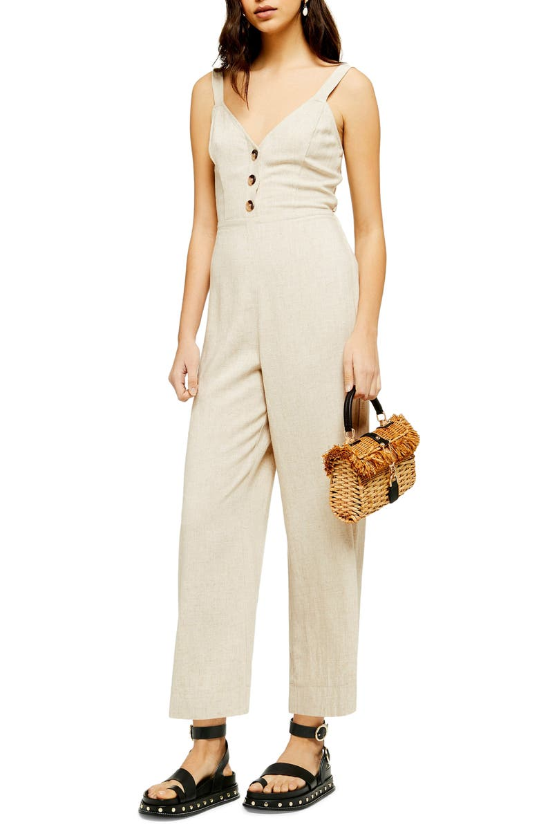 TOPSHOP Sleeveless Tie Back Jumpsuit, Main, color, NUDE