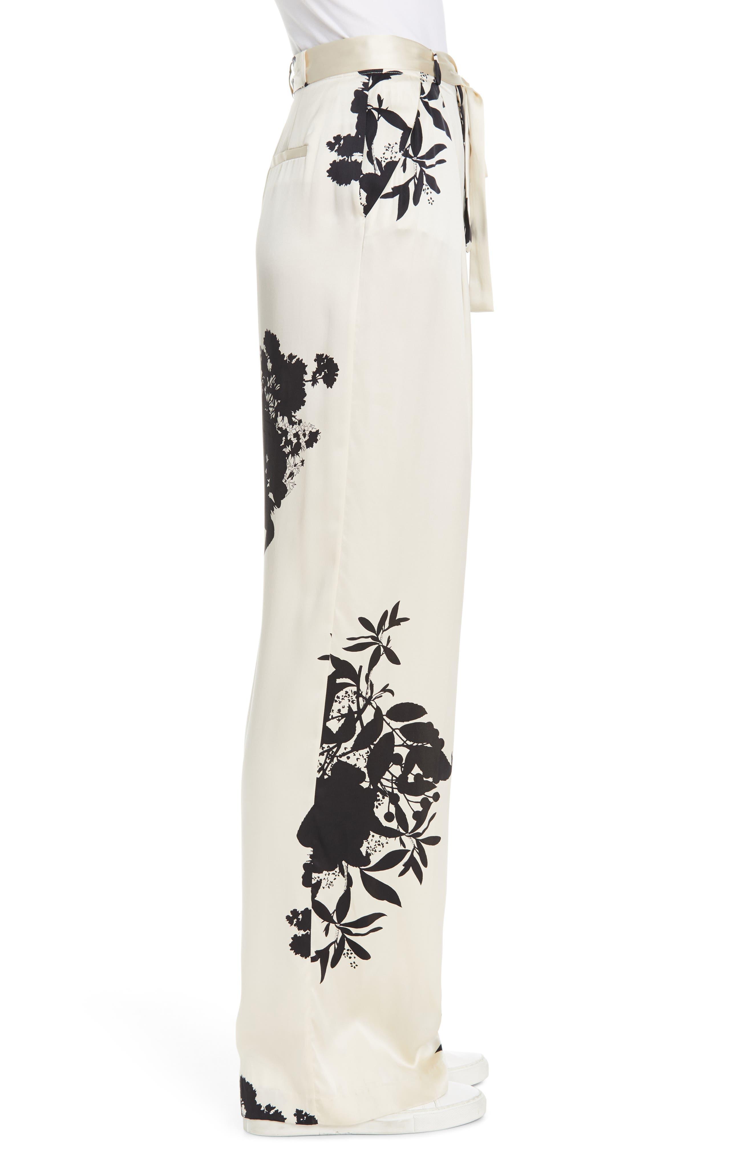 ,                             Evonne Tie Waist Silk Blend Pants,                             Alternate thumbnail 4, color,                             ECRU TRUE