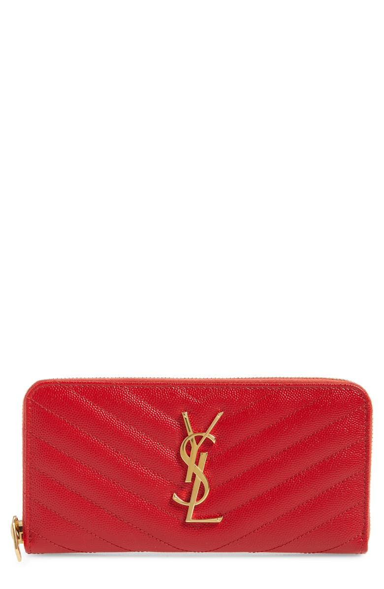 SAINT LAURENT 'Monogram' Quilted Leather Wallet, Main, color, BANDANA RED