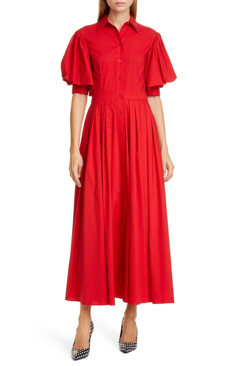 MICHAEL KORS COLLECTION Puff Sleeve Shirtdress, Main, color, CRIMSON