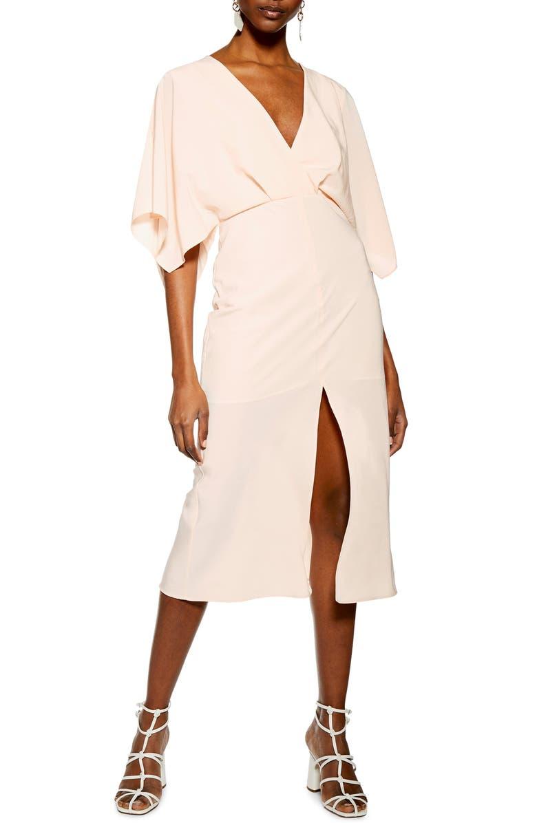 TOPSHOP Batwing Plunge Tea Length Dress, Main, color, 680