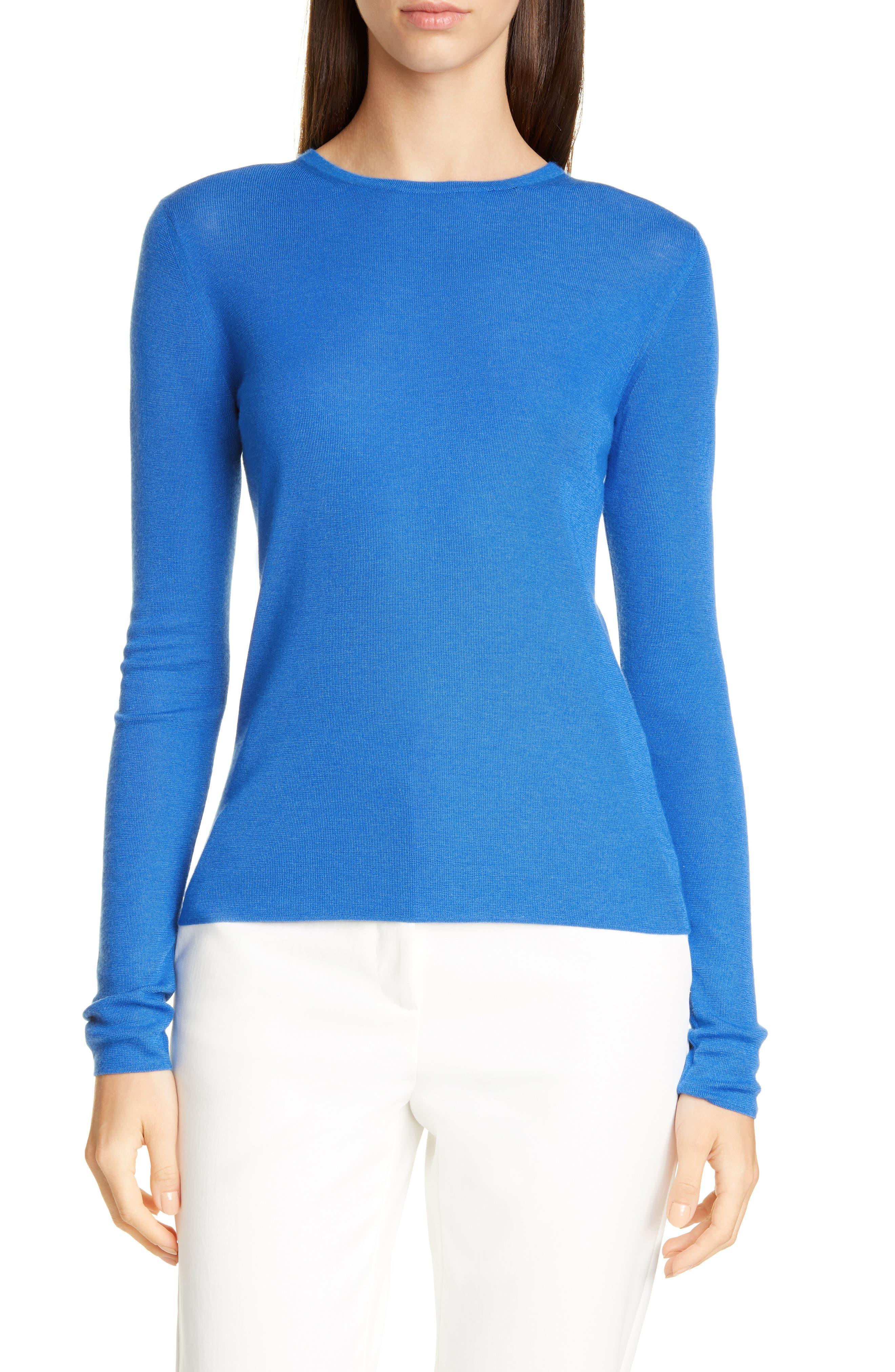 Image of St. John Collection Refined Cashmere Silk Rib Full Sweater
