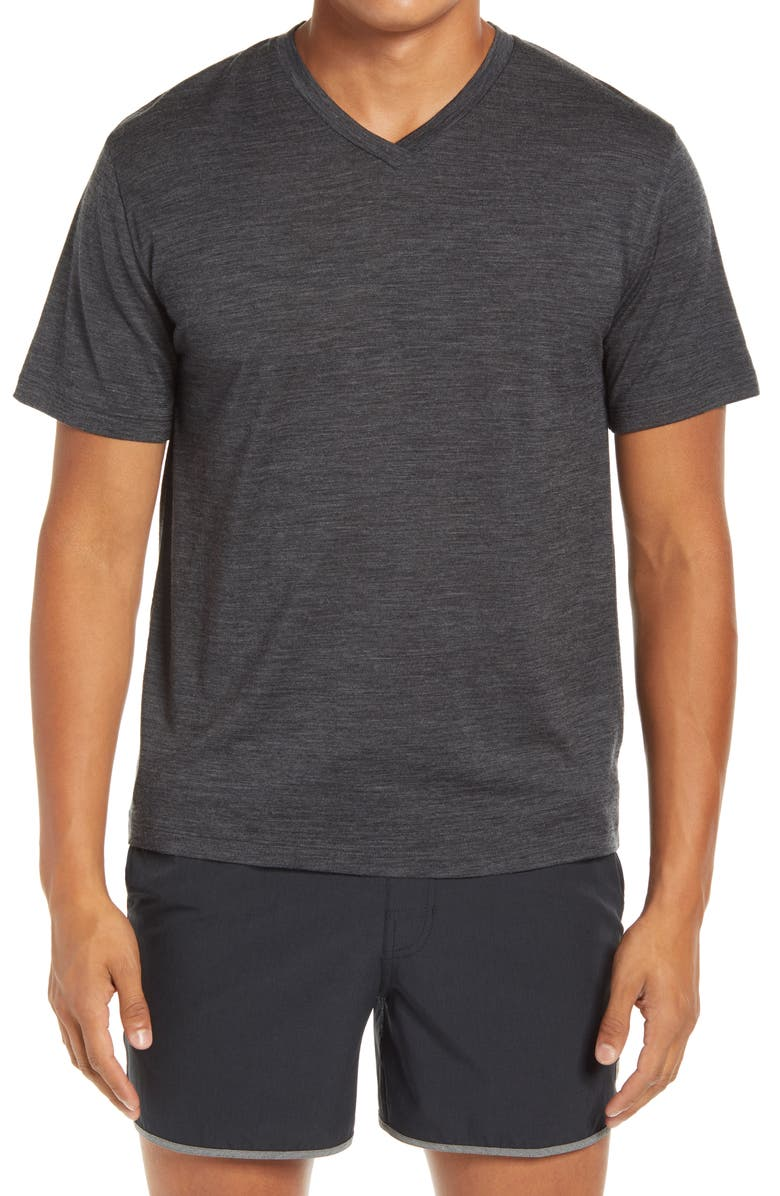 ICEBREAKER Ravyn V-Neck Wool Blend T-Shirt, Main, color, JET HEATHER