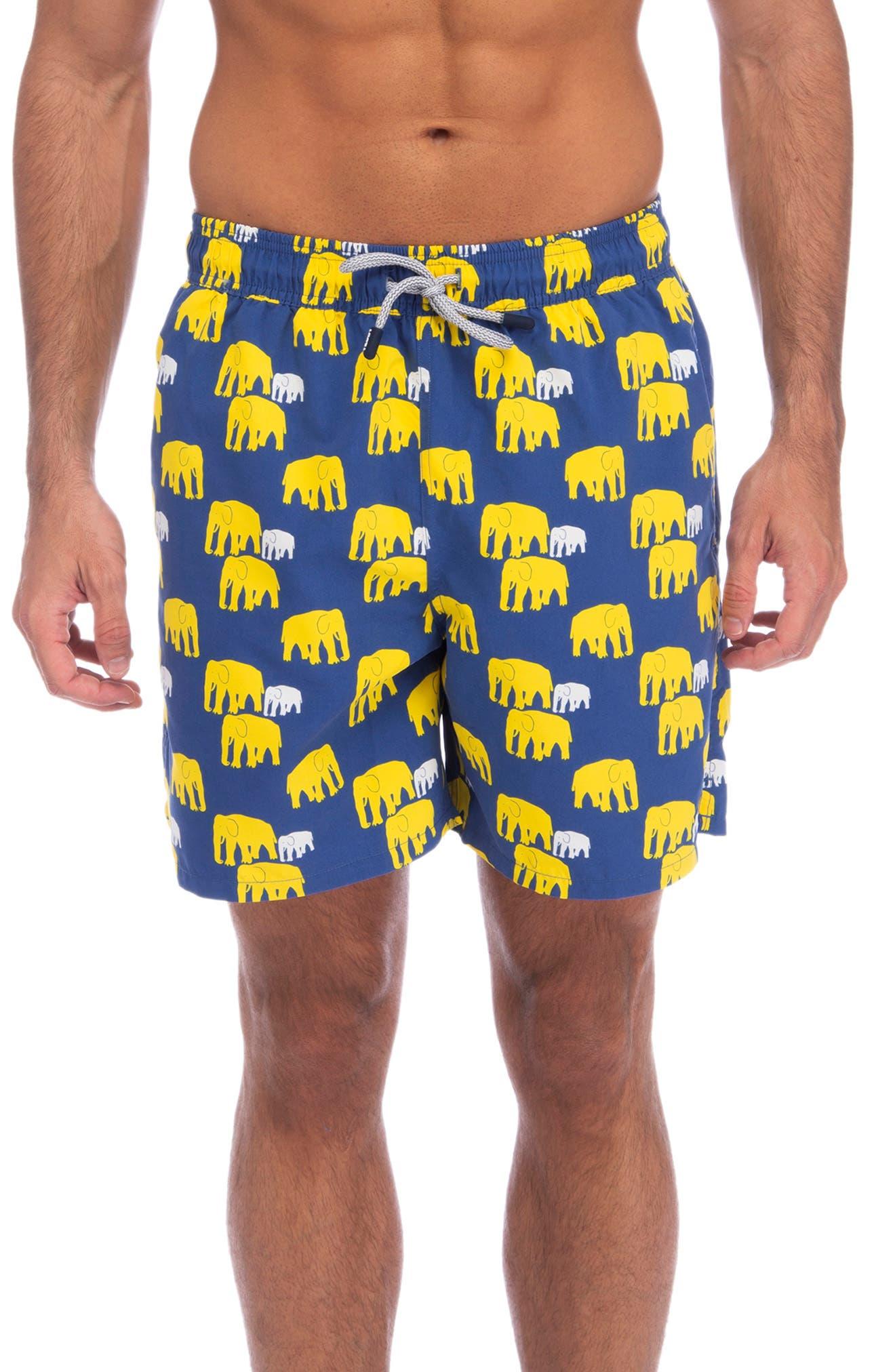 Tom & Teddy Elephant Print Swim Trunks, Blue