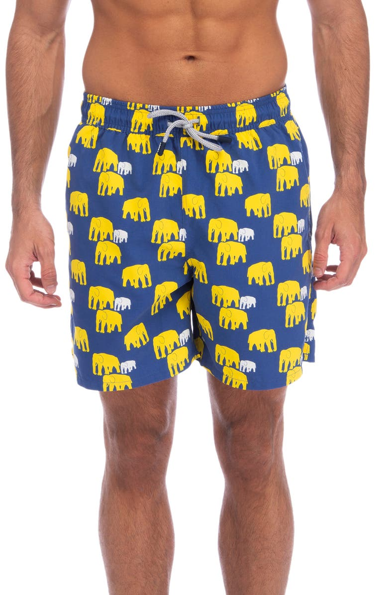 TOM & TEDDY Elephant Print Swim Trunks, Main, color, 412