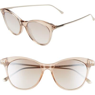 Tom Ford Micaela 5m Cat Eye Sunglasses - Champagne/ Rose Gld/ Brwn Silv