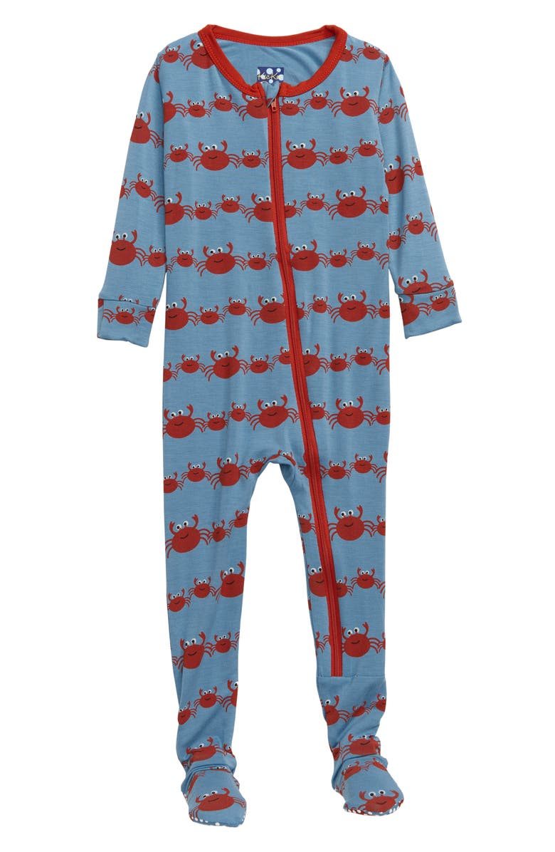 KICKEE PANTS Crab Family Jersey Footie, Main, color, 460