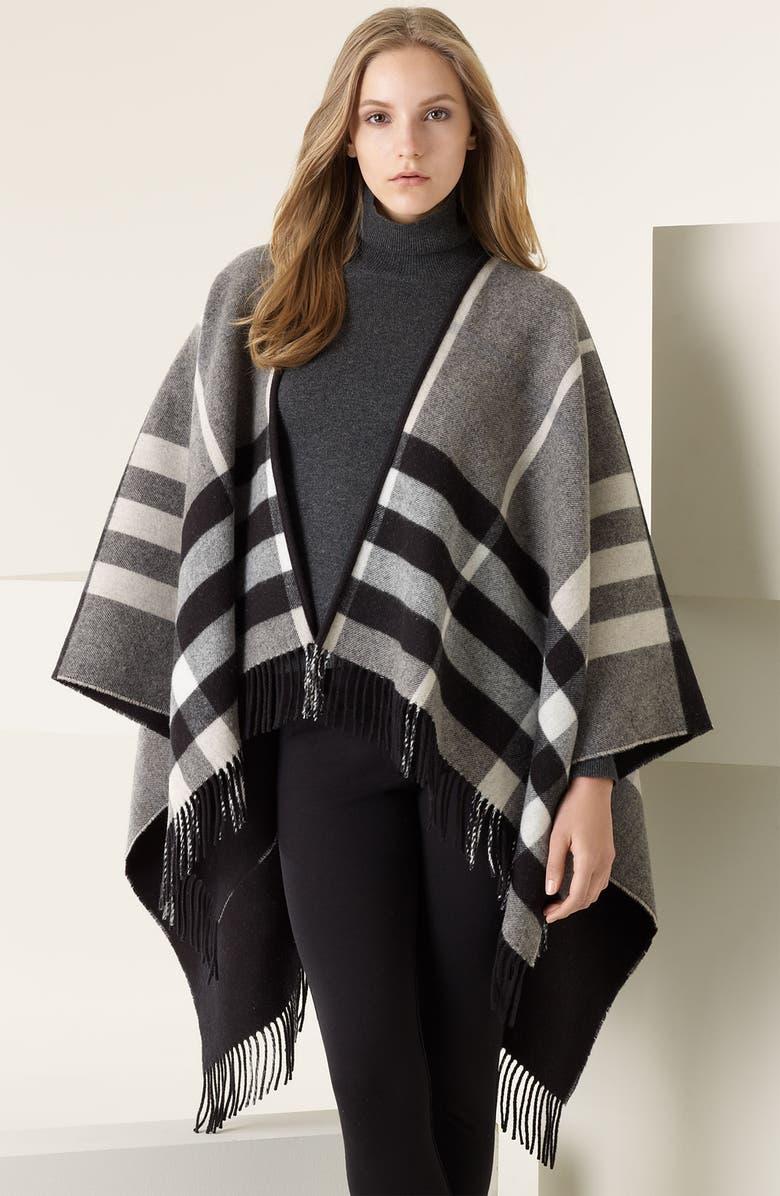 BURBERRY Mega Check Merino Wool & Cashmere Ruana, Main, color, 026