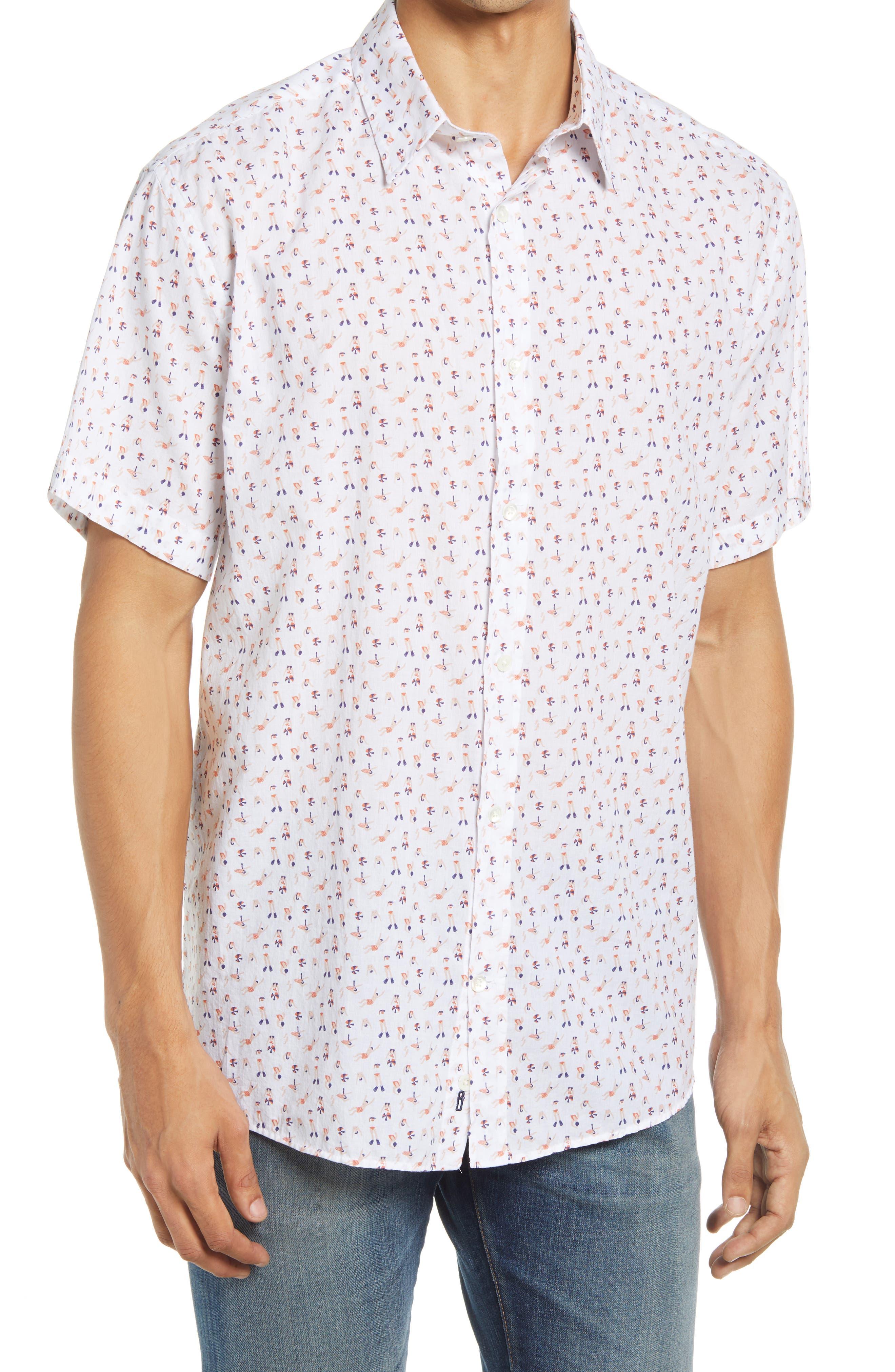 Swimmer Print Short Sleeve Button-Up Shirt