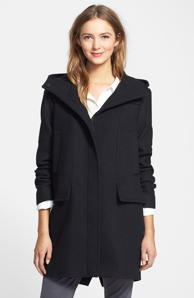 VINCE CAMUTO Wool Blend Duffle Coat, Main, color, 001
