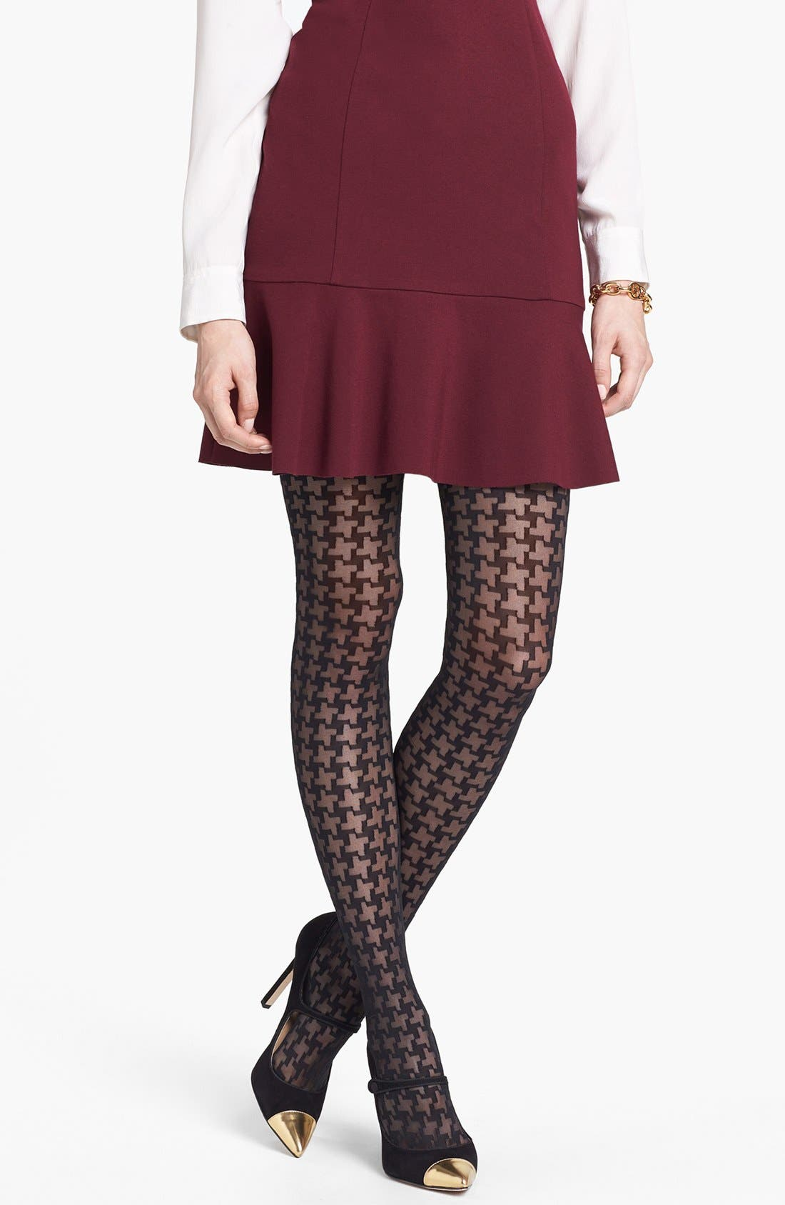 'Houndscheck' Tights, Main, color, 001