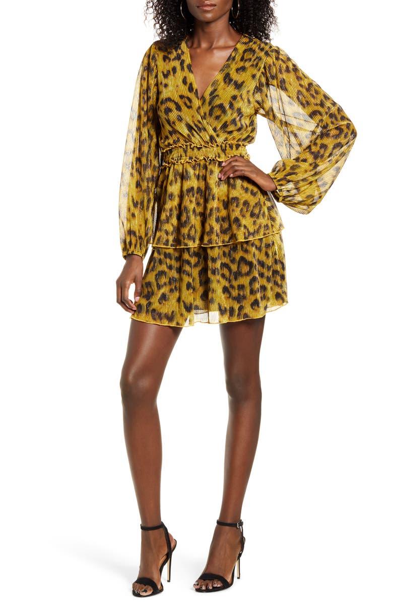 4SI3NNA Leopard Print Tiered Ruffle Long Sleeve Metallic Dress, Main, color, GOLD LEOPARD